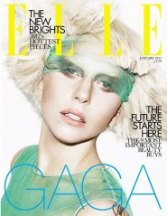 Lady Gaga in Green on the cover of Elle
