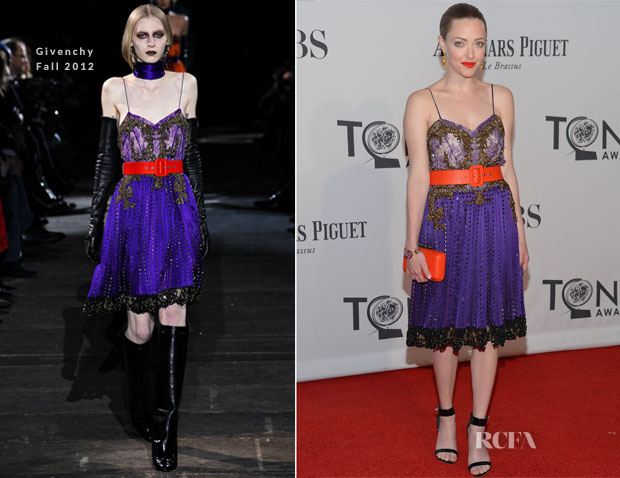 The original Givenchy on the Fall 2012 runway; Amanda Seyfried at the 2012 Tony Awards
