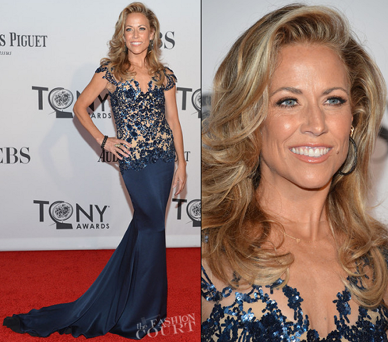 Sheryl Crow in Marchesa and someone else's hair at the Tony Awards