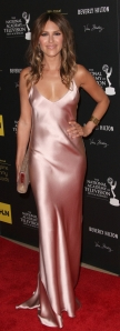"""Y&R's"" Elizabeth Hendrickson received mixed reviews on her bias-cut silk gown"