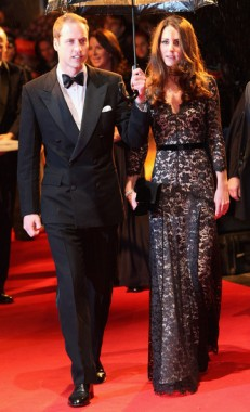 Kate Middleton in a black and pink Alice by Temperley gown